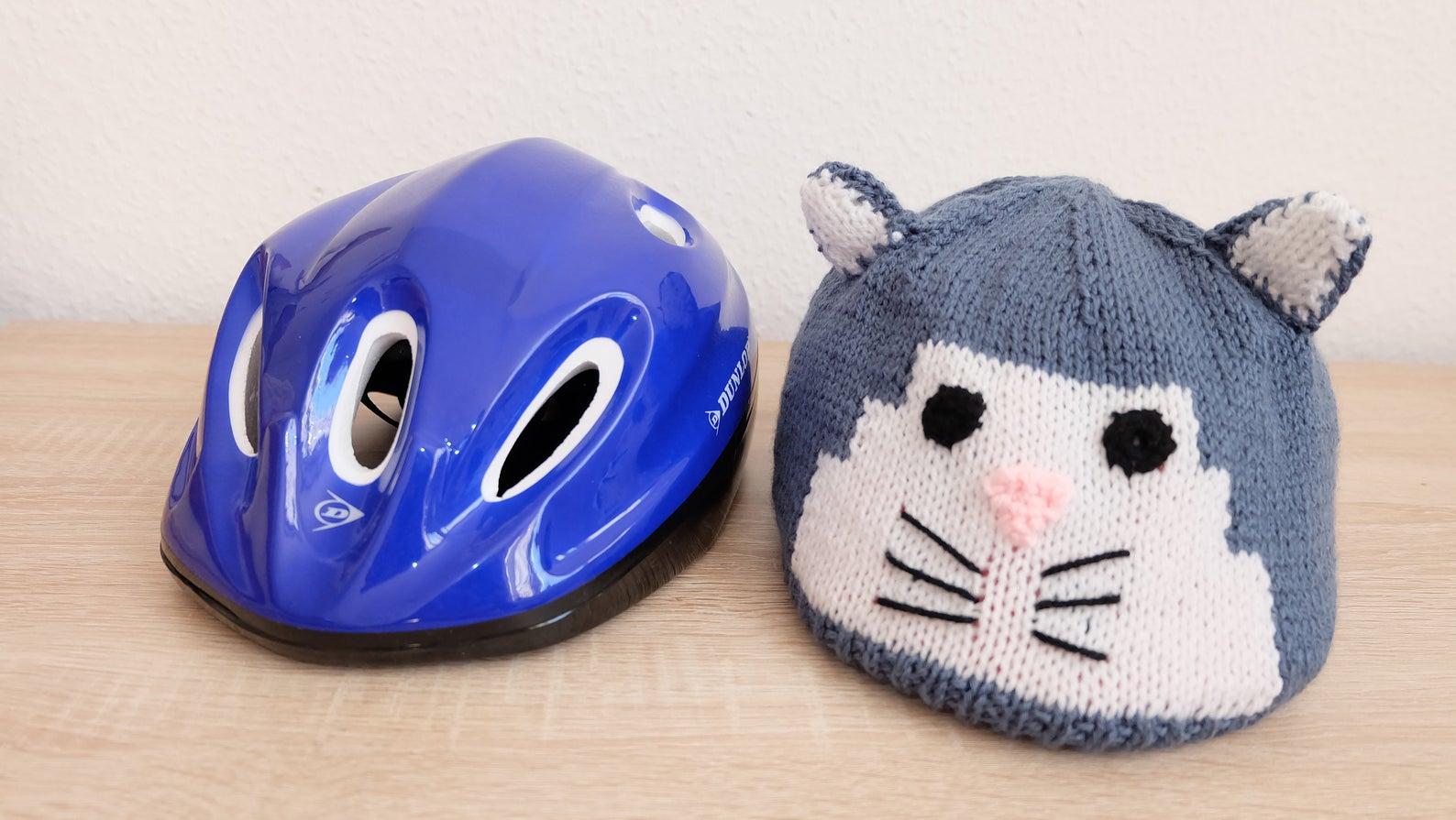 Kinder-Fahrradhelmüberzug Katze