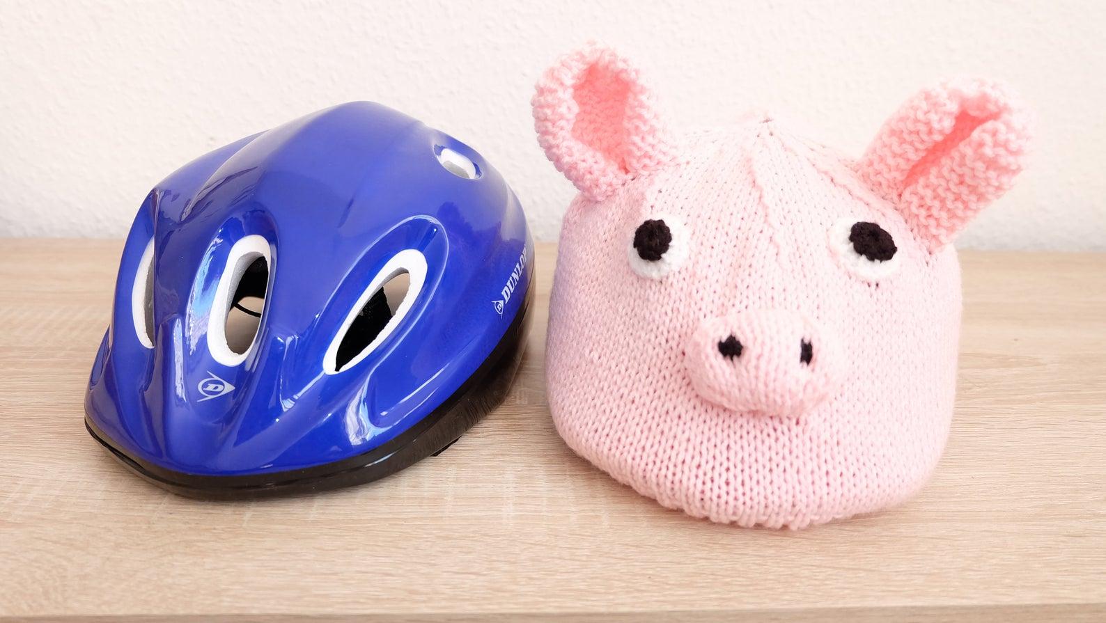 Kinder-Fahrradhelmüberzug rosa Schweinchen